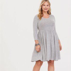 Torrid Grey Hacci Skater Sweater Dress